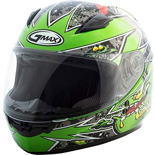 GMAX G7496221TC-3 unisex-adult full-face-helmet-style Helmet (Gm49Y Youth Street Alien) (Black/Green, Youth Medium)