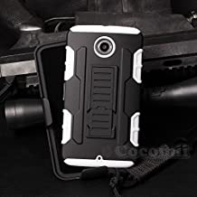 Motorola Nexus 6 Case, Cocomii Robot Armor NEW [Heavy Duty] Premium Belt Clip Holster Kickstand Shockproof Hard Bumper Shell [Military Defender] Full Body Dual Layer Rugged Cover (White)