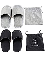 2 Pairs Portable Travel Slippers Open Toe Sandals Spa Hotel Slippers Non-disposable Guest Room Indoor House Slipper Business Trip Flight Slippers Shoes Footwear