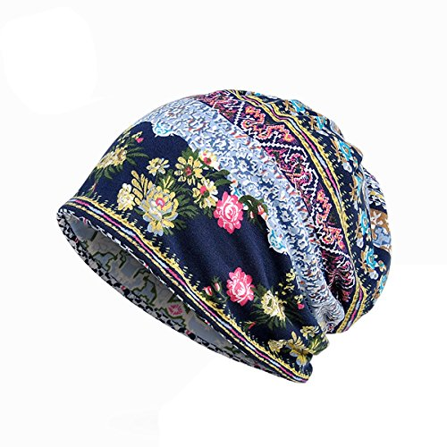 Sherrylily Womens Floral Ponytail Skull Beanie Light Weight Vintage Boho Ethnic Print Stripe Hat Neckerchief Scarf