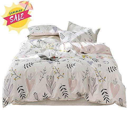 - Flower Print Cotton Girls Duvet Cover Set 3 Piece Pink Reversible Full Bedding Set Lightweight Soft Floral Duvet Comforter Cover Set for Children Teens Adults Queen Bedding Collection