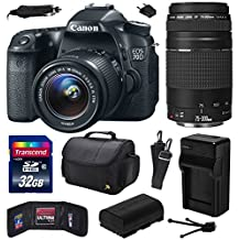 Canon EOS 70D Digital SLR Camera with 18-55mm STM and EF 75-300mm f/4-5.6 III Lens includes 32GB Memory + Large Case + Extra Battery + Travel Charger + Memory Card Wallet + Cleaning Kit (32GB Value