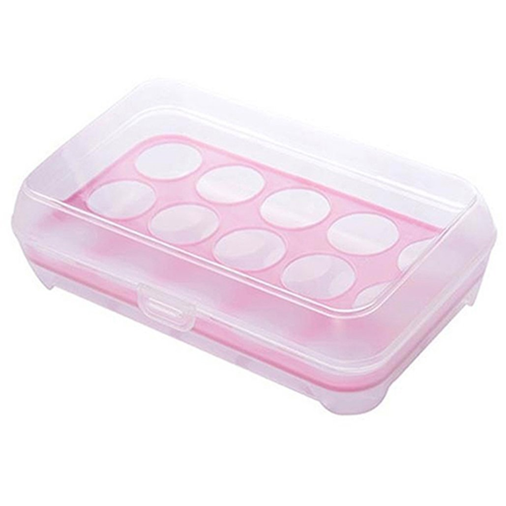 Single Layer 15 Grids Eggs Holder Box Refriderator Fridge Freezer Case Outdoor Portable Container Storage Egg Boxes (White) Brussels08 TRTAZ11A