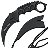 Cheap Stainless Steel Camping Hunting Knife Tactical Knife Karambit –Fixed Blade –With Rope (black)