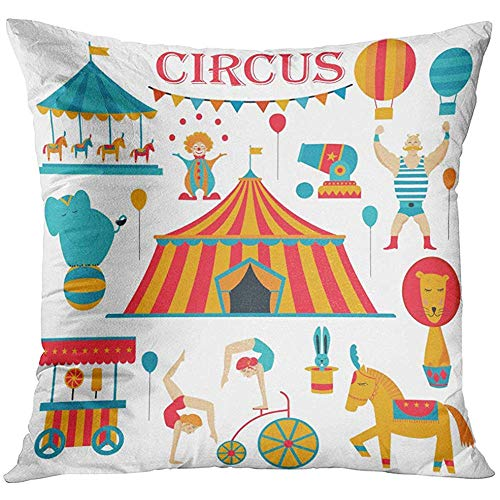 - Throw Pillow Cover Tent Circus Collection with Carnival Fun Fair Icons and and Colored Acrobat Carousel Decorative Pillow Case Home Decor Square 18x18 Inches Pillowcase