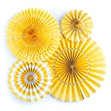 Jesipi Tissue Paper Fans Decorations Paper Fans Pack in Mixed Size for Baby Shower Birthday Party Decorations Hanging Fans Wedding Decoration (Pack of 4) (Yellow)