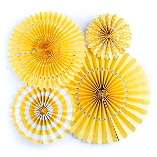 Yellow Party Fans, Set of 4