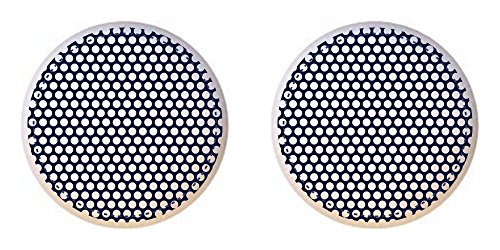 (SET OF 2 KNOBS - Small Navy Blue Polka Dots from the Pink and Blue Circles Collection - DECORATIVE Glossy CERAMIC Cupboard Cabinet PULLS Dresser Drawer KNOBS)