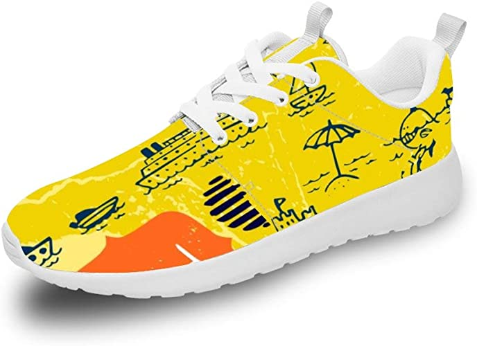 Mesllings Zapatillas de Running Unisex Happy Summer Sun Sand con ...