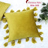 Decorative Pillow Cover - Valery Madelyn 18 x18 Inch Solid Yellow Velvet Throw Pillow Case Decorative Pillow Cover with Wool Tassels for Sofa Couch