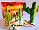 Ceramic Green Orange Coffee Tea Mug 4 X 3¼ Arizona Sunset Saguaro Cactus Handle This Is a Very Decorative Mug with Bright Orange and Yellow Arizona Sunset Background and 7 Raised Saguaro Cactus, 1 Raised Prickly Pear Cactus, & 1 Raised Barrel Cactus on the Mug Plus the Handle Is a Saguaro Cactus and a White Glaze on the Inside