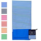 Microfiber Beach Towel for Travel - Oversized XL 70 x 35 Inch - Quick Dry, Sand Free, Extra Large, Lightweight with Zipper Bag - Compact, Perfect for Travel Towel and Beach Blanket (Blue Ocean)