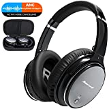 Noise Cancelling Wireless Headphones Over Ear - Bluetooth Headset with HiFi Stereo Sound, Build in Mic, Supports Hands-Free Calling and Wired Mode for Phones, PC, TV and Air Travel