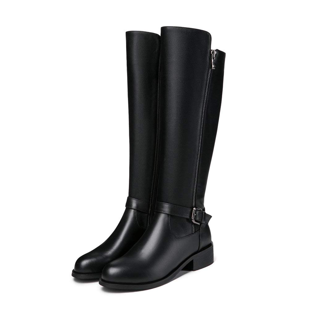 e93574a299e2 Fashion Knee High Riding Boot Women Side Zipper Buckle Strappy Genuine  Leather Flat Black Western Combat Boot Winter: Amazon.co.uk: Shoes & Bags