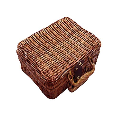 (Retro Wicker Suitcase,Brown Wicker Picnic Basket Rattan Storage Box Travel Suitcase for Outdoor,Outing,Camping Storage Baskets)