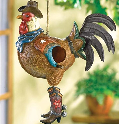 Country Western Cowboy Rooster Chicken Bird House Shelter Garden Tree Yard Art ()