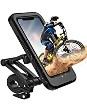 Phone Holder for Bike Waterproof,Motorcycle Handlebar Mount,Mountain Bicycle Cellphone Clamp,Scooter Phone Clip Freely Adjustable Height and 360°Rotation ,Suitable for Any Smartphone GPS Navigation