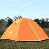 HUI LINGYANG Outdoor Camping Tent, Aluminum Rod Waterproof 3 Person Portable Camping Family Tent/Backpacking Tent With Carry Bag, Orange For Sale