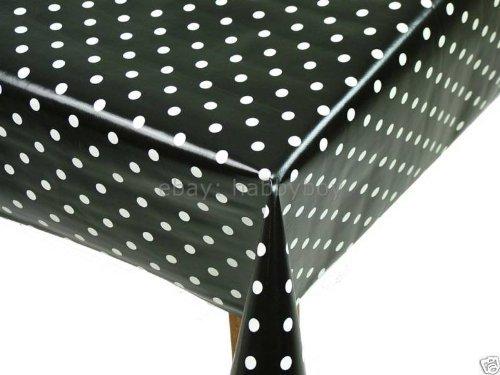 [Wipe Clean Tablecloth Oilcloth Vinyl PVC Black Polka Dot Spot 200cm x 137cm] (Polka Dot Oilcloth)