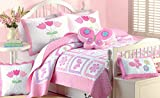 Cozy Line Home Fashions 4 - piece Quilt Bedding Set, Butterfly Tulip Flower Bedspread, Coverlet, 100 % Cotton, Gifts for Girl Kids (Twin - 4pc: 1 quilt + 1 sham + 2 Decorative Pillows)