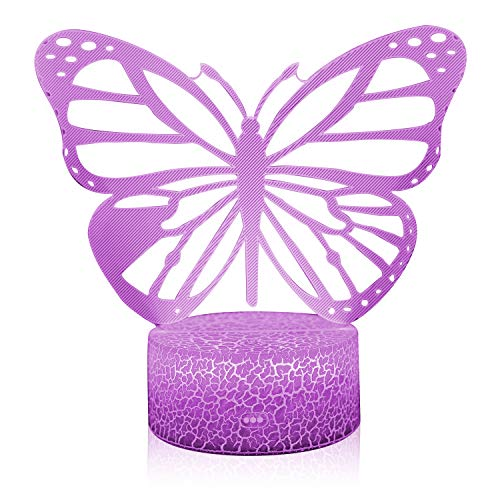 3D Illusion Butterfly Night Lamp, 7 Color Change, Touch Crack Base, Power by AA Batteries