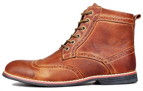1be30f5955f589 Kunsto Men's Leather Classic Brogue Boots Lace up US Size 7.5 Brown ...