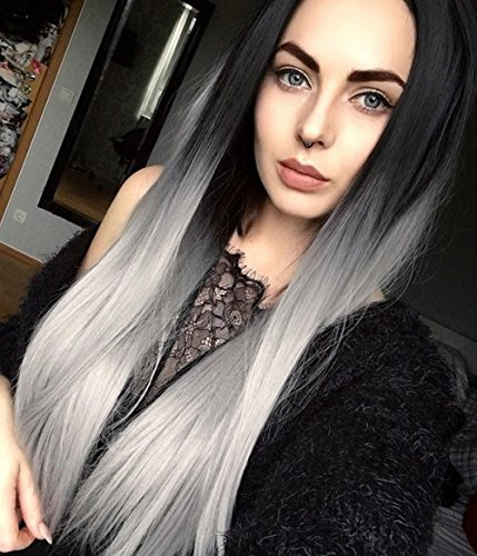 SHANGKE Cosplay Long Straight Hair Two Tone Black and Grey Ombre Wig Heat Resistant Fiber Wigs for Women + a Wig Cap