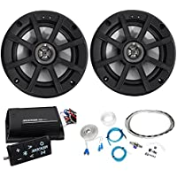 Package: Pair of Kicker 40PSC652 PSC65 6.5 Motorcycle, ATV, or Marine Speakers Totaling 240 Watt + Kicker 40PXIBT502 PXiBT50.2 Motorcycle And ATV 2-Channel Bluetooth Amplifier Plus Remote + Amp Kit