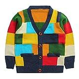 eTree Little Boys' Colored Lattice Cardigan Cashmere Knitting Sweater Size 5