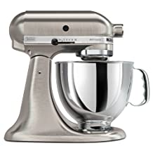 Bundle 2 Items: Kitchen Aid 5KSM150, Acucraft Acupwr Plug Kit, Brushed Nickel, Heavy Duty Stand Mixer, Works in 183 Countries, 220-volt