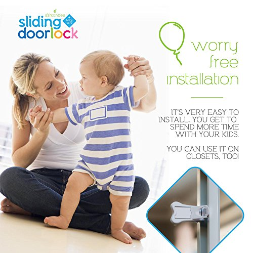 Sliding Door Lock for Child Safety - Baby Proof Doors & Closets. Childproof your Home with No Screws or Drills by Ashtonbee (Set of 2, White) by Ashtonbee (Image #6)