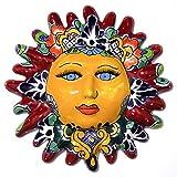 Sol Decorativo de Talavera - Colgante de Pared (Rojo)