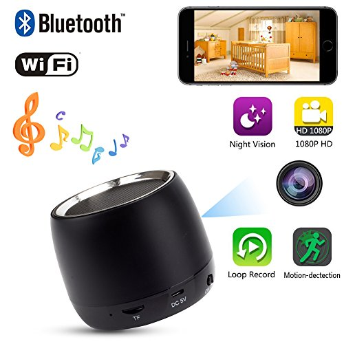 YCTONG HD 1080P Hidden Camera WIFI Spy Camera Bluetooth Speaker Wireless Cam Motion Detection Mini Video Recorder Night Vision Cameras Surveillance Camcorder Pet Nanny Cam for Home Security by YCTONG