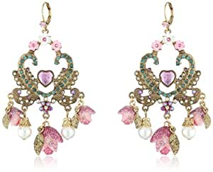 "Betsey Johnson ""Fairyland"" Rose Chandelier Drop Earrings"