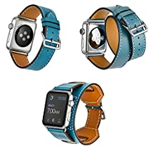 Smarmate Cuff Bracelet/Single Tour/Double Tour Leather Band Strap with Adapter Clasp for 38mm Apple Watch Series 3/Series 2/Series 1(Blue)