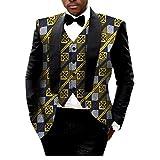 AGAING Men African Print 2pcs-Set Vest Blazer Classic Slim Fit Suit Jacket 6 XL