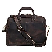 Huntvp Mens Leather 17 Inch Laptop Briefcase Messenger Shoulder Bag (Dark Brown)