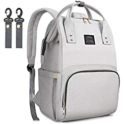 LOOTUS Diaper Bag Backpack Multi-Functional Waterproof Easy-to-Clean Larger Capacity Travel Backpack Nappy Bags, Baby Bag Organizer with 14 Pockets Stylish Light Gray