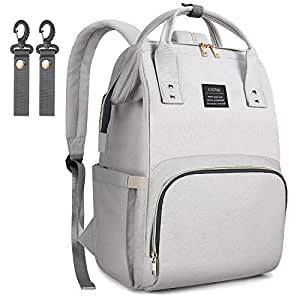 LOOTUS Diaper Bag Backpack Large Multi-Function Waterproof Easy-to-Clean Larger Capacity Travel Backpack Nappy Bags, Baby Diaper Bag with Stroller Straps Insulated Pockets, Stylish Light Gray