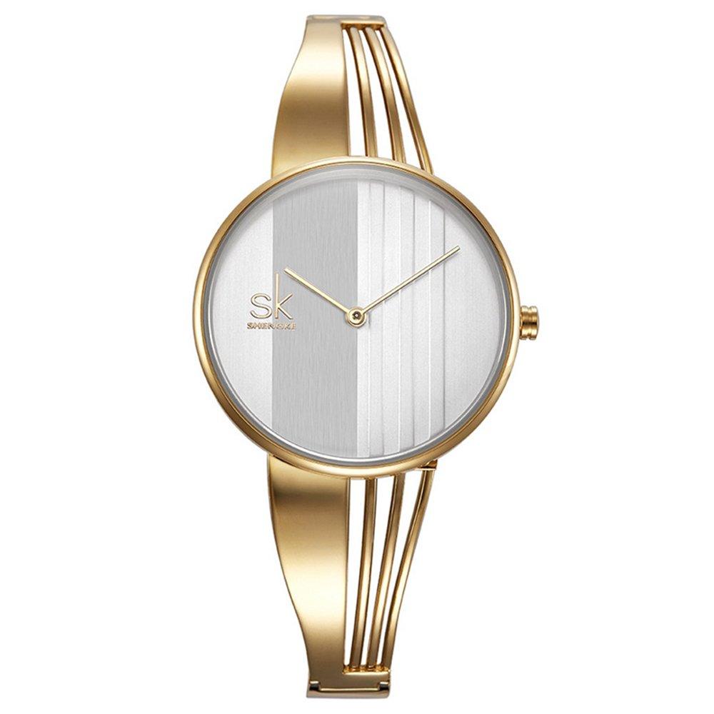 SK Bracelet Elegant Ladies Watches Round Best Watches for Women Gifts (0062-Gold)