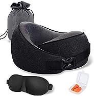 MLVOC Travel Pillow 100% Pure Memory Foam Neck Pillow, Comfortable & Breathable Cover, Machine Washable, A