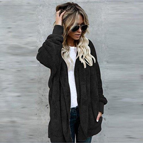 Hoodies Soft Soft Cardigan Coat Parka Jacket Fluffy Long Outwear Hooded Women Black Faux Coat Casual Fur YCqwxzB