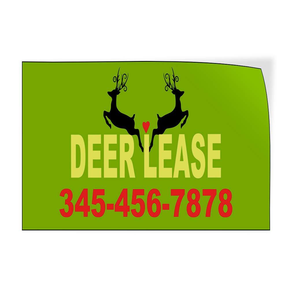 Custom Door Decals Vinyl Stickers Multiple Sizes Deer Lease Phone Number Deer Green Business Deer Lease Outdoor Luggage /& Bumper Stickers for Cars Green 34X22Inches Set of 10