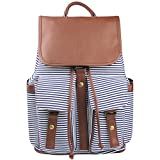 Imiflow Backpack for School Girls College Schoolbags Casual Laptop Purses Book Bags (Stripe Canvas)