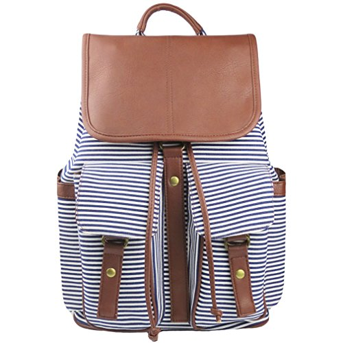Imiflow Casual Backpacks Print Canvas Leather Daypacks Travel College Rucksack Backpack Purse for Girls Women 005 Stripe