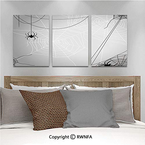 3Pc Creative Wall Stickers Spiders Hanging from Webs Halloween Inspired Design Dangerous Cartoon Icon Decorative Bedroom Kids Room Nursery Dinning Wall Decals Removable Art Murals,19.7