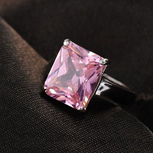 Fasherati Silver Pink Solitaire Ring for Women