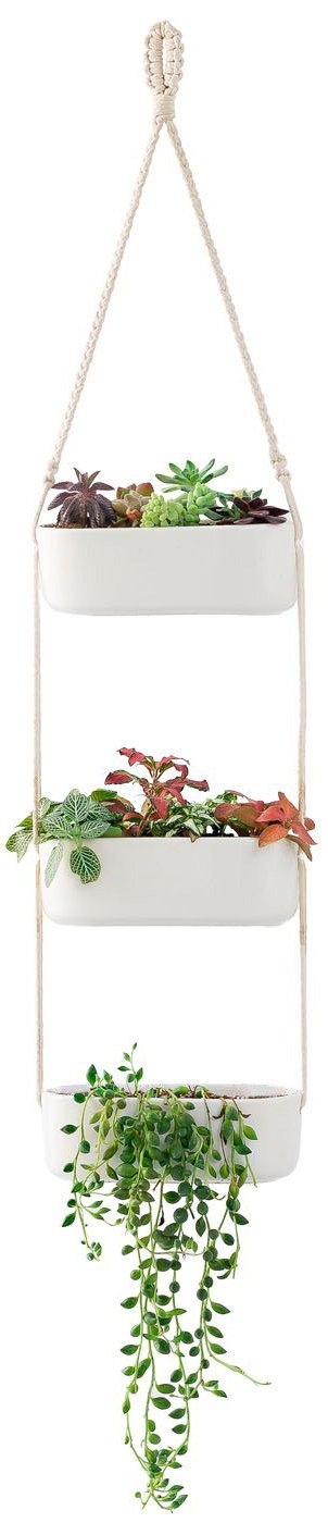 Mkono Macrame Hanging Planter with 3 Ceramic Plant Flower Pots, White