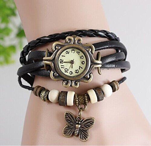 Women Weave Wrap Leather Bracelet Wrist Watch Black - 7