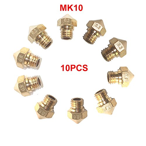 CCTREE 10PCS MK10 M7 Extruder Nozzle For 3D Printer Wanhao Dupicator D4/I3/Dremel QIDI Makerbot 2 0.2mm,0.3mm,0.4mm,0.6mm,0.8mm